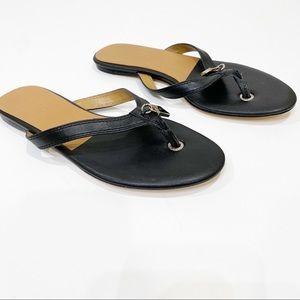 L.A.M.B Leayher Black & Tan Flip Flop Sandals 9.5